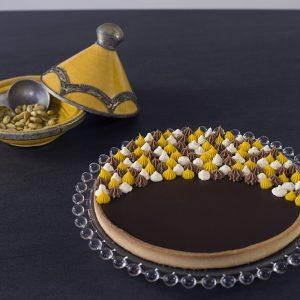 Tarte chocolat pâte sablée mangue et crème gingembre - Entremets amis